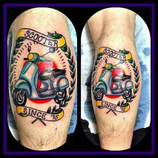 Vespa tattoo by Franziska Ziska Faulstich (via IG -- franziska_faulstich_) #FranziskaZiskaFaulstich #vespa #vespatattoo #scooter #scootertattoo