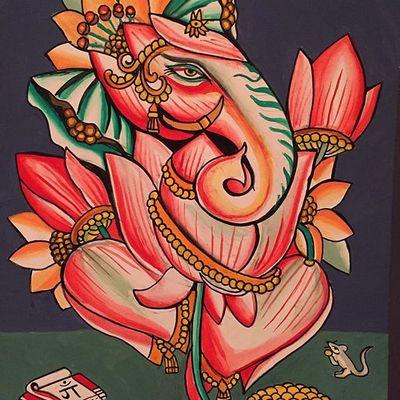 A painting of Sri Ganesha by Robert Ryan (IG—robertryan323). #fineart #Ganesha #paintings #woodblockprints #RobertRyan