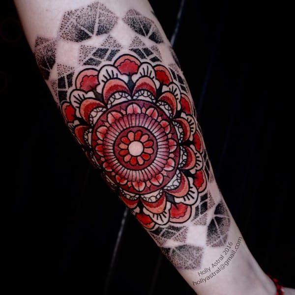 Mandala tattoo by Holly Astral #HollyAstral #mandala #dotwork #linework #coloredmandala #spiritual #symbolic
