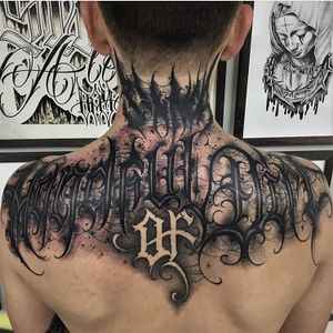Lettering by PaulSoul #PaulSoul #letteringtattoos #blackandgrey #script #text #font #gothic #writing #lettering #darkart
