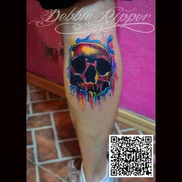 Multi-color watercolor skull tattoo by Debbie Ripper. #watercolor #DebbieRipper #skull #splatter #multicolor