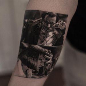 Pulp Fiction tattoo by Inal Bersekov #inalbersekov #movietattoos #blackandgrey #realism #realistic #hyperrealism #film #quentintarantino #PulpFiction #umathurman #johntravolta #tattoooftheday