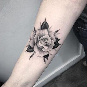 Single Rosebud by Lazer Liz (via IG-lazerliz) #flowers #rose #negativespace #neotraditional #blackandgrey #bangbangnyc #lazerliz