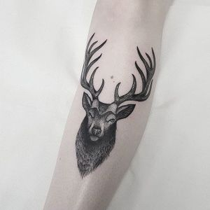 Blackwork Stag Tattoo by Jules Gordon #blackwork #blackworkstag #stag #blackstag #blackink #contemporary #JulesGordon