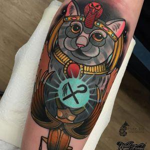 Egyptian cat tattoo by Piotr Gie #PiotrGie #graphic #Bastet #cat #egypt #scarab #egyptiancat