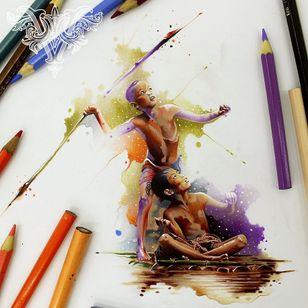 #crianças #childrens #caça #hunting #aquarela #watercolor #vareta #ilustradorvareta #coloridos #brasil #brazil #portugues #portuguese #desenhos #drawing