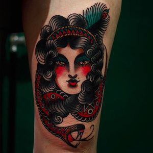 Beautiful lady and snake tattoo by Martina @ElectricMartina #ElectricMartina #Gypsy #girl #lady #gypsygirl #Traditional #neotraditional #Snake #PrettyElectric #Sweden