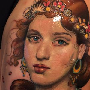 Springtime beauty by Aimee Cornwell #AimeeCornwell #realism #realistic #painting #illustrative #portrait #lady #spring #flowers #jewelry #color #eyes #lips #tattoooftheday