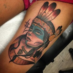 Native American Tattoo by Adam Knowles #nativeamericangirl #neotraditionalnativeamerican #neotraditional #neotraditionaltattoo #neotraditionalartists #boldtattoos #neotrad #AdamKnowles