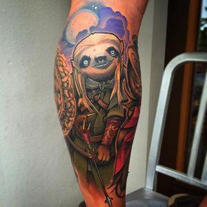 Legolas Sloth Tattoo by Eddie Stacey #sloth #slothtattoo #slothtattoos #slothdesign #funtattoos #EddieStacey