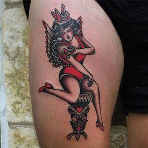 Tattoo by Ivan Antonyshev #IvanAntonyshev #traditionalwoman #Traditional #Girl #Woman #Rose #Mainstaytattoo #Austin