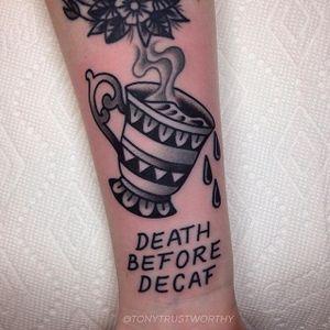 Coffee Cup Tattoo by Tony Talbert #TraditionalTattoos #OldSchoolTattoos #ClassicTattoos #TraditionalTattoo #TraditionalArtists #TonyTalbert #coffeecup