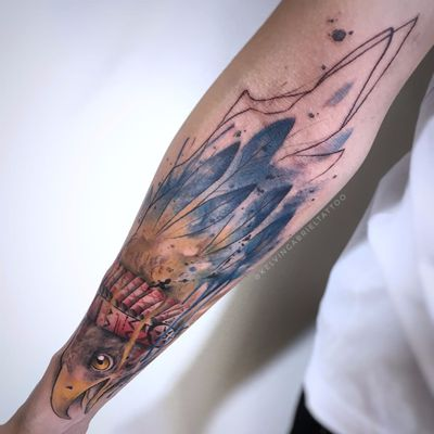 Kelvin Gabriel #KelvinGabriel #brazilianartist #tatuadoresdobrasil #brasil #brazil #watercolor #aquarela #aguia #eagle #ave #bird #passaro #cocar #headdress #pena #feather