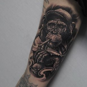 Chimpanzee Tattoo by Edgar Ivanov #Chimpanzee #BlackandGrey #BlackandGreyRealism #BlackandGreyTattoos #PortraitTattoos #Realism #EdgarIvanov