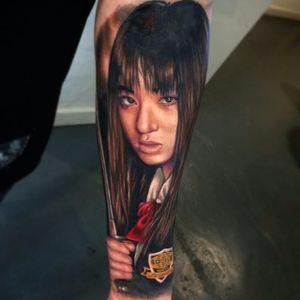 Gogo Yubari tattoo by Joe Carpenter. #JoeCarpenter #colorrealism #portrait #gogoyubari #japanese #katana #killbill #movie #film #cultfilm #popculture