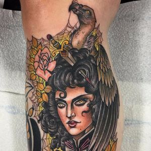 Vulture, sword and lady by Guen Douglas #GuenDouglas #neotraditional #color #newschool #lady #portrait #sword #rose #vulture #spiderweb #leaves #nature #pinup #tattoooftheday