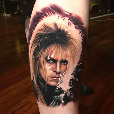 David Bowie as Jareth from Labyrinth. Tattoo by Mick Squires. #realism #colorrealism #portrait #DavidBowie #labyrinth #Jareth #MickSquires