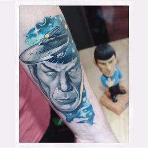 Spock tattoo by Gianpiero Cavaliere #GianpieroCavaliere #newschool #turquoise #spock #StarTrek