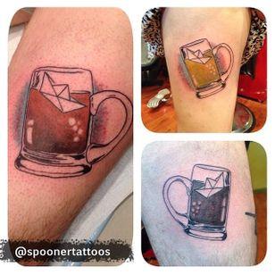 Root beer friend tattoos by James Spooner (via IG -- monocletattoo) #jamesspooner #rootbeer #rootbeertattoo