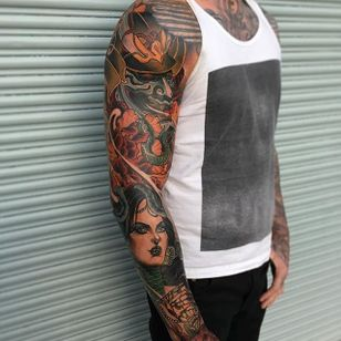 Sleeve Tattoo by Jake Danielson #neotraditional #neotraditionaltattoo #neotraditionaltattoos #neotraditionalartist #JakeDanielson