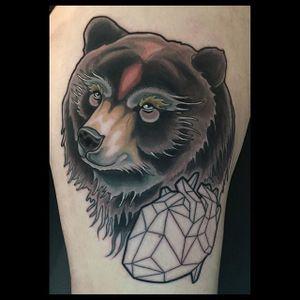 Neo Traditional Bear Tattoo by Brian Povakn #NeoTraditionalBear #NeoTraditional #BearTattoos #BearTattoo #BrianPovak #bear