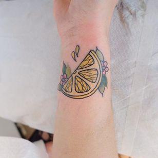 Lemon tattoo by Lou DC. #LouDC #kawaii #girly #cute #pinkwork #lemon