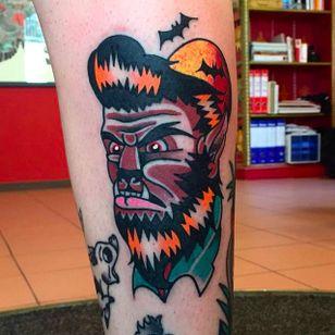 Thick and clean wolfman or werewolf tattoo done by Luca Sala. #LucaSala #OldInkTattoo #boldtattoos #solidtattoos #werewolf #wolfman