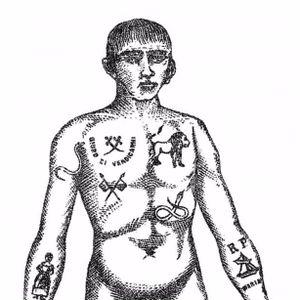 Illustration of 19th-century Australian convict tattoos. #art #illustration #convict #Australia #historical