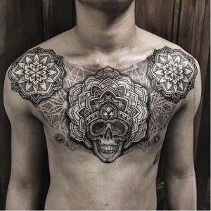 Mandala design combined with pointillism, geometric shapes and skull #pointillism #mandala #skull #ishineve #geometric