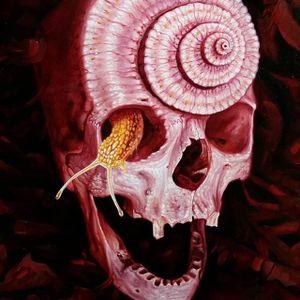One of Christian Perez's snail skull paintings (IG—christian1perez) #ChristianPerez #fineart #oilpaintings #snail #skulls
