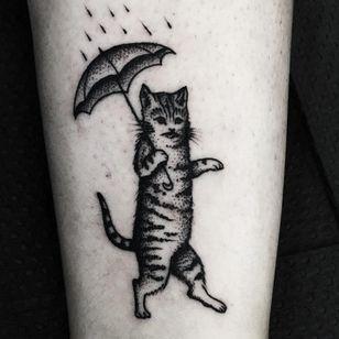 Kitty in the rain tattoo by Mike Adams #MikeAdams #cattattoos #blackwork #linework #dotwork #cat #petportrait #rain #umbrella #kitty #cute
