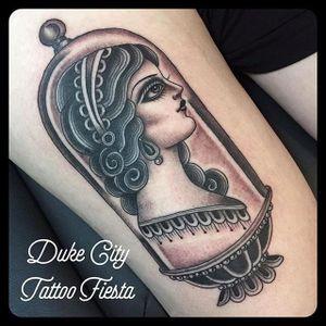 Lady Lamp Tattoo by Marie Sena #Mariesena #Electriceye #Dallas #Texas #Black #Traditional #Lady #blackwork #Girl