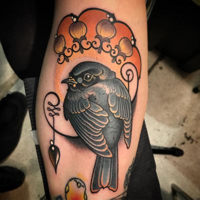 Birdie tattoo by Vale Lovette #ValeLovette #Artnouveau #color #neotraditional #bird #flowers #design #fleurdelis #artdeco #feathers #wings #floral #ornamental #unalome #pearl