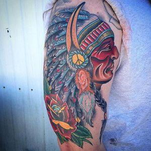 Chief Tattoo by Zach Bowden #nativeamerican #chief #traditional #neotraditional #boldtraditional #brigthandbold #traditionalartist #ZachBowden