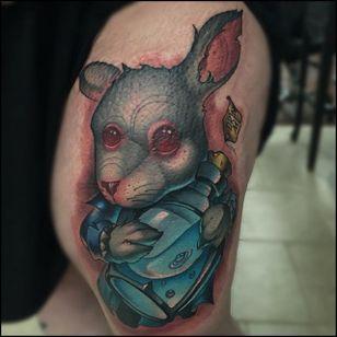 White Rabbit Tattoo by William Volz #whiterabbit #rabbittattoo #newschoolrabbittattoo #newschool #newschooltattoo #newschooltattoos #newschoolartist #WilliamVolz
