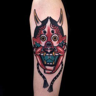 Two in One Hannya Mask and Demon Tattoo by Woo @Woo_Tattooer #WooTattooer #Seoul #Korea #TwoinOneTattoo #OpticalIllusion #OpticalIllusionTattoo #Hannya #Demon