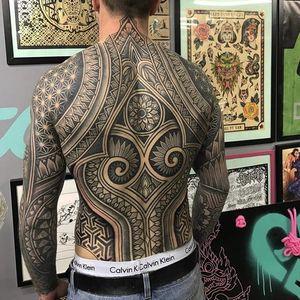 Back-piece by Kieran Williams #KieranWilliams #pattern #mandala #geometric #blackwork #tattoooftheday
