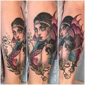 Mermaid tattoo #JessicaAnnWhite #mermaid #neotraditional #illustrative #mermaidtattoo