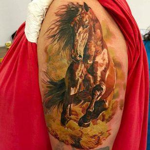 Magnificent horse tattoo by Martin Kukol. #MartinKukol #realistic #mARTink #horse #animaltattoo