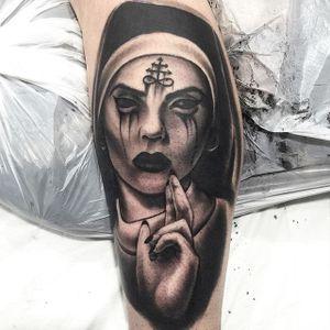 Blackwork nun tattoo by ma87tattoo on Instagram. #nun #scary #horrifying #creepy #macabre #portrait #horror #satanic #blackwork #sinister #evil