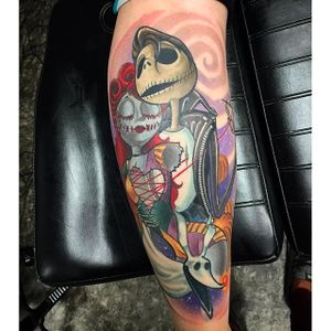 'The Nightmare Before Christmas' tattoo by Tim Safford. #TimSafford #rockabilly #nightmarebeforechrismas #thenightmarebeforechristmas #TimBurton #jackandsally #classic #film #popculture #couple