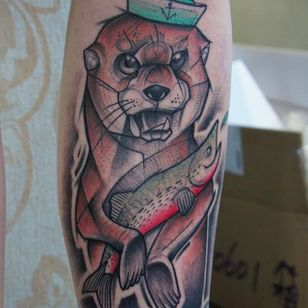 Sketch Style Otter and Fish Tattoo by Damian Thür @MrCoffee85 #DamianThür #Sketchstyle #sketchstyletattoo #Otter #Fish