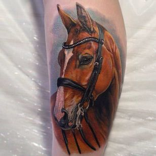 Beautiful horse tattoo by Giena Revess! #GienaRevess #realistic #realism #3D #photorealism #horse