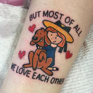 Madeline by Shell Valentine (via IG-shell_valentine_tattoo) #kawaii #traditional #colorful #90s #ShellValentine