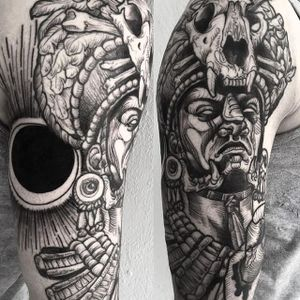 Mayan Highpriest Tattoo by Phil Kaulen #mayan #blackwork #blackworktattoo #blackworkportrait #sketch #sketchtattoo #PhilKaulen