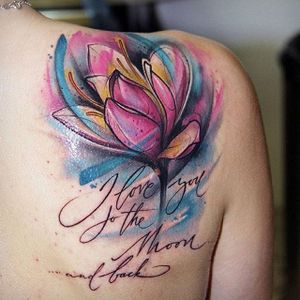 Abstract watercolor tulip and lettering tattoo by Kati Berinkey. #abstract #watercolor #flower #tulip #lettering #KatiBerinkey