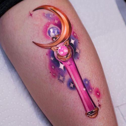 Sailor Moon tattoo by Steven Compton #StevenCompton #watercolortattoos #color #painterly #watercolor #Sailormoon #manga #anime #moon #wand #stars #sparkle