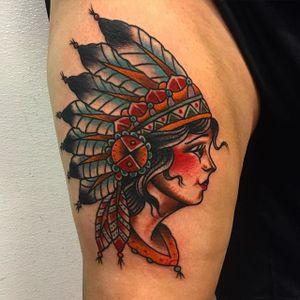 Headdress Girl Tattoo by Mikey Sarratt #nativeamerican #headdress #traditional #traditionalartist #oldschool #classic #boldwillhold #MikeySarratt