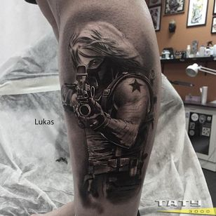 Winter Soldier Tattoo by Andrey Lukas #wintersoldier #wintersoldiertattoo #captainamerica #marvel #marveltattoo #comicbooktattoo #AndreyLukas