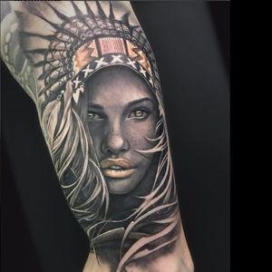 Headpiece girl tattoo by David Garcia #DavidGarcia #art #realistic #portrait #headpiece #native